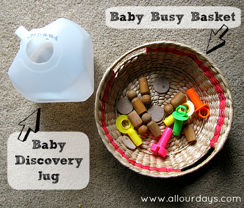 Baby Busy Basket and Baby Discovery Jug (31 Days of Busy Bags & Quiet Time Activities @ AllOurDays.com)