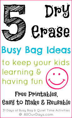 5 Dry Erase Busy Bag / Activity Bag Ideas