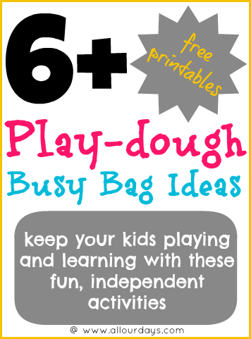 6+ Play-dough Busy Bag Ideas #freeprintable (Day 27) 31 Days of Busy Bags & Quiet Time Activities @ AllOurDays.com