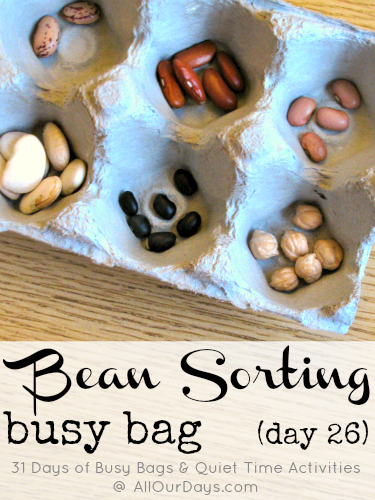 Bean Sorting Busy Bag (Day 26) 31 Days of Busy Bags & Quiet Time Activities @ AllOurDays.com