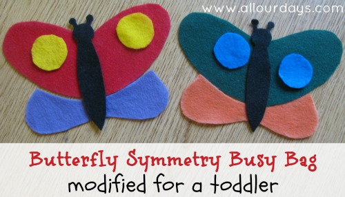 Butterfly Symmetry Busy Bag Modified for a Toddler: Free Busy Bag Printable @ AllOurDays.com