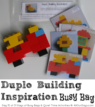 Lego Duplo Building Inspiration Busy Bag (Day 15) 31 Days of Busy Bags & Quiet Time Activities @ AllOurDays.com
