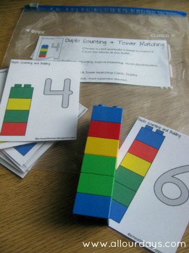 Help your kids play and learn with this fun and educational Duplo blocks busy bag activity. Work on counting, color matching, fine motor skills and more. Part of a 31 Days of Busy Bags and Quiet Time Activities https://allourdays.com/2012/10/duplo-blocks-counting-tower-matching-busy-bag.html