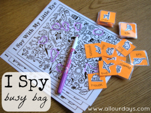 I Spy Busy Bag (1 of 5 Dry Erase Busy Bag Ideas) 31 Days of Busy Bags & Quiet Time Activities @ AllOurDays.com