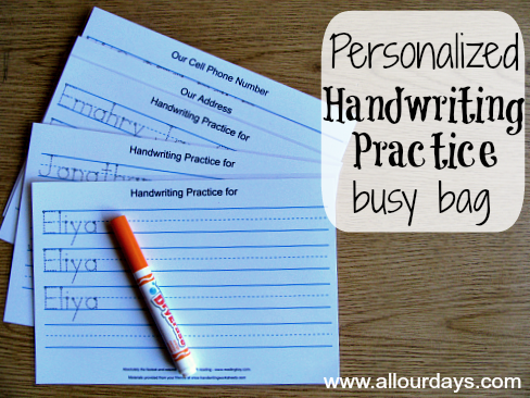 Personalized Handwriting Practice Busy Bag (1 of 5 Dry Erase Busy Bag Ideas) 31 Days of Busy Bags & Quiet Time Activities @ AllOurDays.com