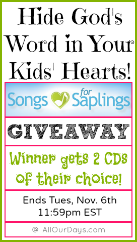 Songs for Saplings 2 CD Giveaway @ AllOurDays.com ends Tues, Nov. 6th at 11:59pm EST