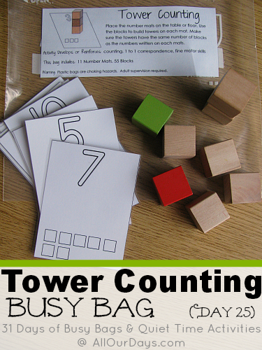 Tower Counting Busy Bag #freeprintable (Day 25) 31 Days of Busy Bags & Quiet Time Activities @ AllOurDays.com