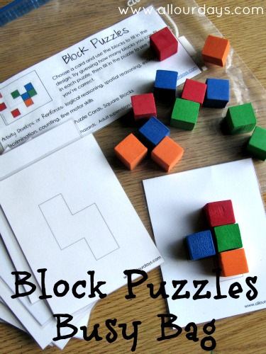 Block Puzzles Busy Bag (31 Days of Busy Bags & Quiet Time Activities @ AllOurDays.com)