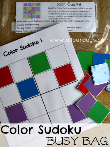 Color Sudoku Busy Bag (Activity Bag) Day 12 of 31 Days of Busy Bags & Quiet Time Activities @ AllOurDays.com