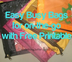 7+ Easy Busy Bags for On-the-Go with Free Printable (Day 28) 31 Days of Busy Bags & Quiet Time Activities @ AllOurDays.com