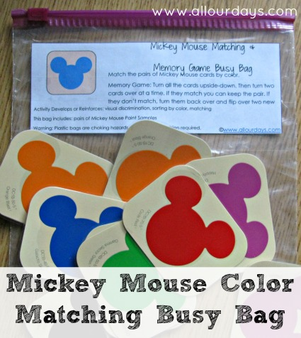Mickey Mouse Color Matching & Memory Game Busy Bag