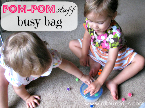 Pom-Pom Stuff Busy Bag (Day 24) 31 Days of Busy Bags & Quiet Time Activities @ AllOurDays.com