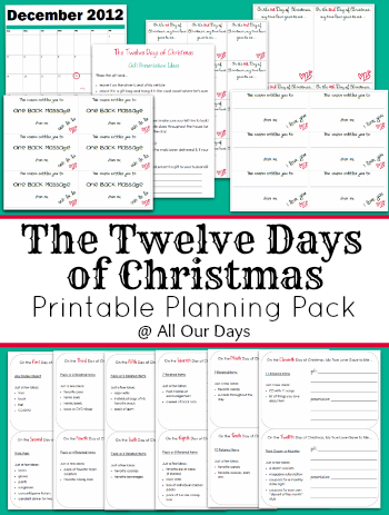 The Twelve Days of Christmas Planning Pack @ AllOurDays.com only $1.50!
