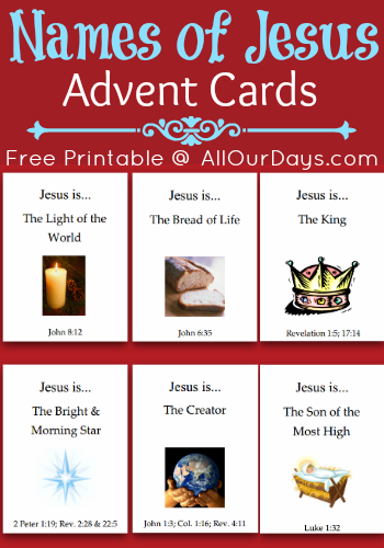 Names of Jesus Advent Cards #freeprintable @ AllOurDays.com