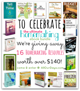 Ultimate Homemaking Celebration Giveaway @ AllOurDays.com 16 Homemaking Resources Valued at over $140! Ends 11:59PM May 4th.