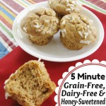 5 Minute Grain-Free, Dairy-Free, Honey-Sweetened Muffins @ AllOurDays.com