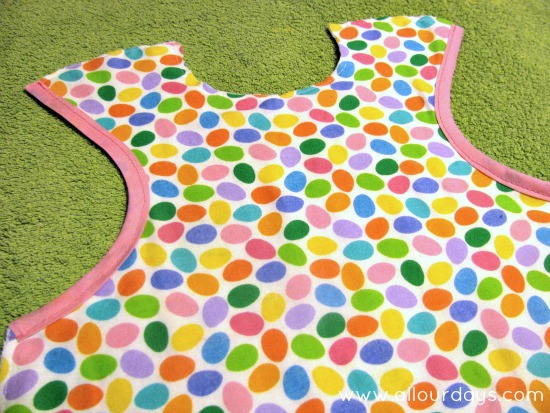 sew bias tape to armholes...Full-Coverage Child's Apron Pattern & Tutorial ©AllOurDays.com