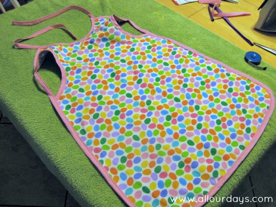 finished apron, smock or jumbo bib...Full-Coverage Child's Apron Pattern & Tutorial ©AllOurDays.com