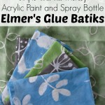 Elmer's Glue Batiks: kid-friendly acrylic paint and spray bottle art project @ AllOurDays.com