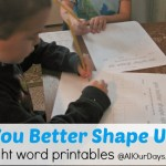 You Better Shape Up Activity, part of the Ultimate Sight Word Pack printables @ AllOurDays.com