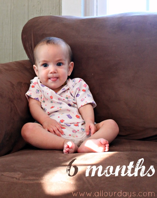 Lillian 6 months:  Monthly Baby Photos @ AllOurDays.com