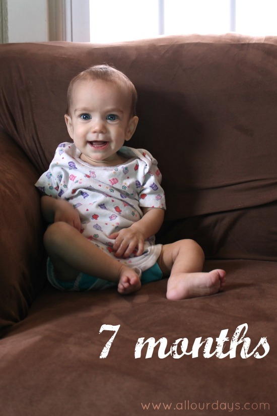 Lillian 7 months:  Monthly Baby Photos @ AllOurDays.com