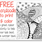 Free Zendoodle to Print & Color - a great indoor activity to help your kids beat the summer heat @ AllOurDays.com #zentangle #zendoodle #freeprintable #coloringpage #zentanglecoloringpage