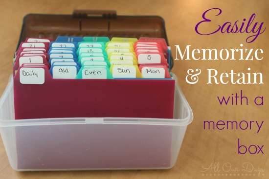 Memory Box for Memorizing and Retaining! Plus Free Printable Scripture Cards {31 Days of Learning with Little Ones @ AllOurDays.com}