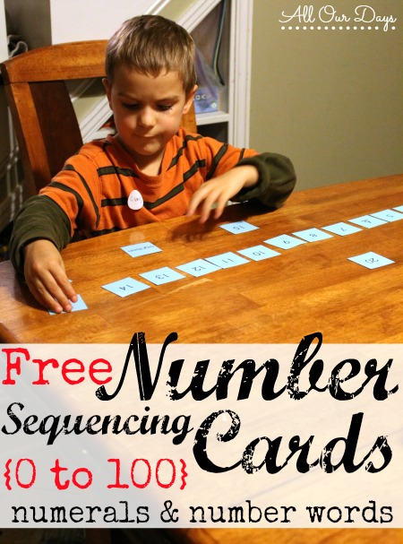 Number Sequencing Cards {31 Days of Learning with Little Ones @ AllOur Days.com} #write31days #homeschool #preschool