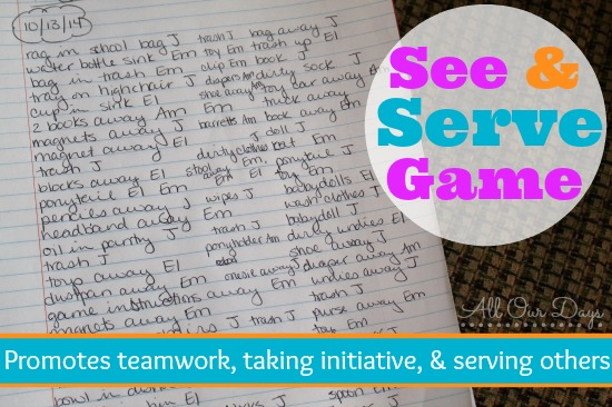 See and Serve Game @ AllOurDays.com {31 Days of Learning with Little Ones} #write31days #parenting #kids