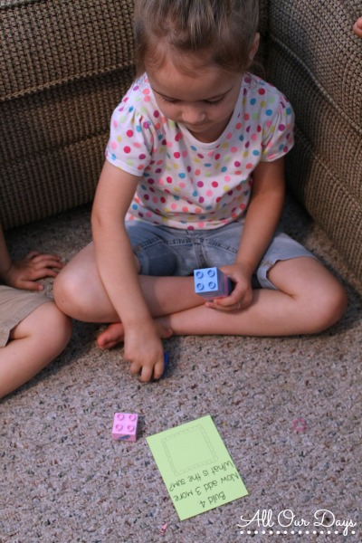 Free Printable Built It! Addition Cards (1-5) {31 Days of Learning with Little Ones @ AllOurDays.com}