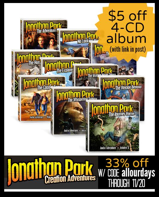 Jonathan Park: Creation Adventures audio drama series $5 off plus 33% off until 11/20/14 @ AllOurDays.com