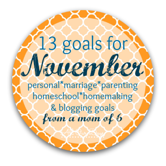 12 Goals for November: personal, marriage, parenting, homeschool, homemaking, and blogging goals from a mom of 6 @ AllOurDays.com