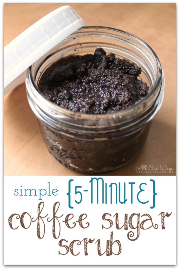 This sugar scrub recipe is a great way to wake up in the shower. The aroma is amazing and the texture gently exfoliates to leave your skin healthy and vibrant. Caffeine has also been proven to help reduce cellulite! This recipe is super easy and has only 3 ingredients. Try it today! https://allourdays.com/2015/01/coffee-sugar-scrub-recipe.html