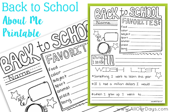 Back to School About Me Printable