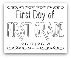 First Day of First Grade 8x10 Free Printable First Day of School Sign, Back to School Sign