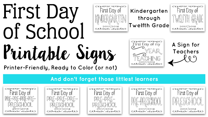First Day of School Signs – Free Printables