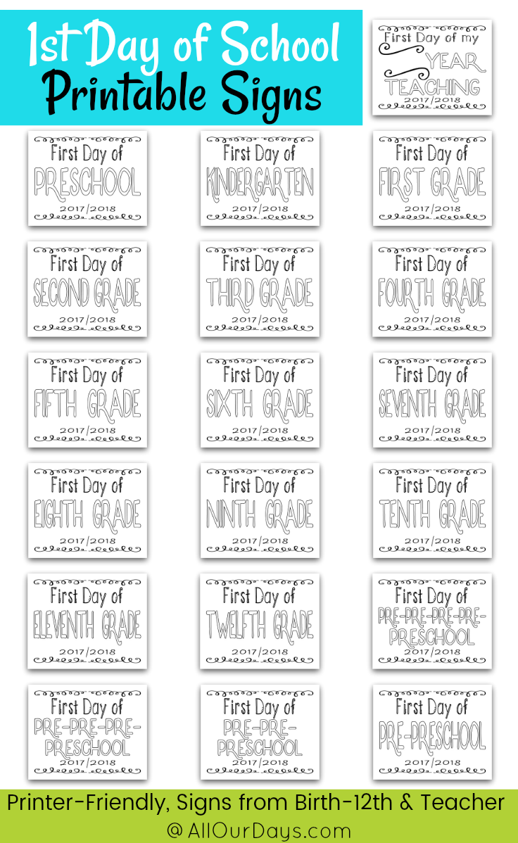 First Day of School Signs, Printable Back to School Signs
