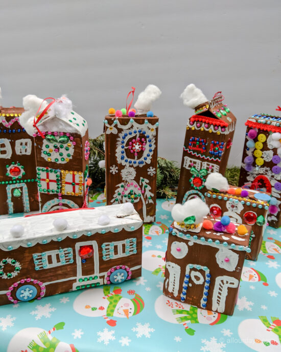 Gingerbread House Craft finished houses